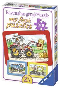 Escavatrice, trattore e camion ribaltab. Puzzle 3x6 pezzi Ravensburger (06573) - 3