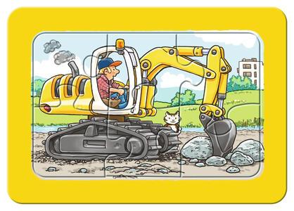 Escavatrice, trattore e camion ribaltab. Puzzle 3x6 pezzi Ravensburger (06573) - 5