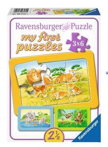 Giocattolo My First puzzle 3x6 pezzi Scimmie, elefanti e leoni Ravensburger 0