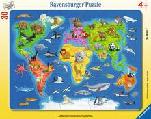 30-48 Teile Rahmenpuzzle. Weltkarte mit Tieren. Ravensburger 00.006.641 puzzle Puzzle con formine 30 pezzo(i)