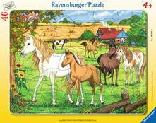 30-48 Teile Rahmenpuzzle. Pferde auf der Koppel. Ravensburger 00.006.646 puzzle Puzzle con formine 46 pezzo(i)