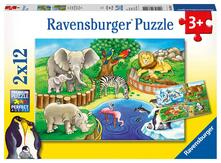 Ravensburger 7602. Puzzle 2X12 Pz. Animali Dello Zoo