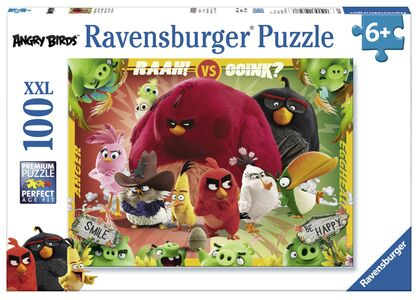Giocattolo Puzzle XXL 100 pezzi Angry Birds. Uccelli contro Maiali Ravensburger
