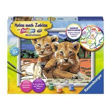Malen nach Zahlen. Kleine Löwenbabys