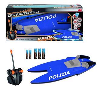 Dickie Toys. Motoscafo Manta Polizia con Radiocomando a 2 Canali
