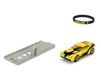 Transformers. Mission Racer con Bracciale Elastico Collezionabile e Lanciatore 11 Cm Bumblebee - 3