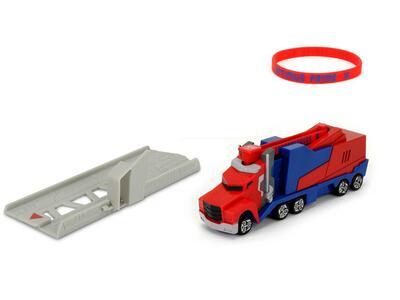 Transformers. Mission Racer con Bracciale Elastico Collezionabile e Lanciatore 16 Cm Optimus Prime - 3