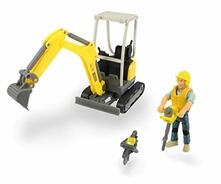 Dickie Playlife Scavatore Wacker Neuson con personaggio e accessori, in scala 1:24, cm.19,5