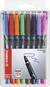 Cartoleria Penna Stabilo OHPen Fine 0,7mm. Inchiostro permanente. Astuccio con 8 colori assortiti Stabilo