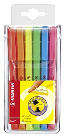 Evidenziatore STABILO Flash. Confezione 6 colori