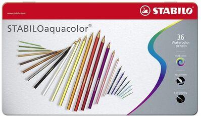 Cartoleria Pastelli STABILO Aquacolor. Scatola in metallo 36 matite colorate acquarellabili Stabilo