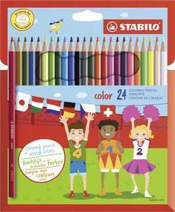 Pastelli Stabilo Color. Confezione in cartone con 24 matite colorate (con FLUO)
