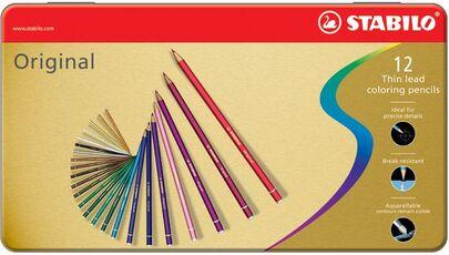 Cartoleria Pastelli STABILO Original. Scatola in metallo con 12 matite colorate Stabilo