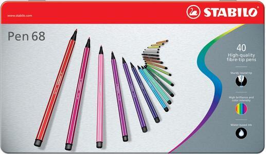Pennarello STABILO Pen 68. Scatola in metallo con 40 colori assortiti