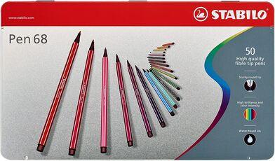 Cartoleria Pennarelli STABILO Pen 68. Scatola in metallo 50 colori assortiti Stabilo