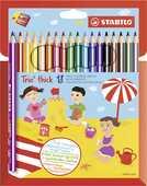 Cartoleria Pastelli Stabilo Trio maxi. Astuccio in cartone da 18 matite colorate + temperino Stabilo