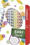 Cartoleria Pastelli Stabilo EASYcolors per mancini. Astuccio da 12 matite colorate Stabilo