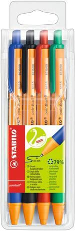 Penna a sfera STABILO pointball. Confezione 4 colori