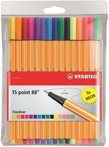 Pennarelli Fineliner STABILO Point 88. Confezione 10 colori + 5 colori neon