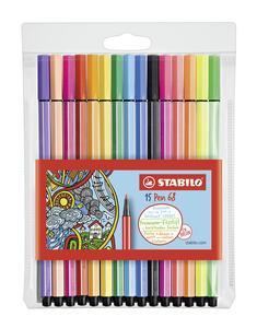 Pennarelli STABILO Pen 68. Confezione 10 colori assortiti + 5 colori neon