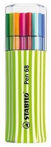 Pennarelli STABILO Pen 68. Scatola verde mela con 15 colori assortiti