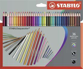 Cartoleria Pastelli STABILO aquacolor. Scatola in cartone 36 matite colorate acquarellabili Stabilo