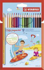 Cartoleria Pastelli STABILO aquacolor. Scatola in cartone 18 matite colorate acquarellabili Stabilo