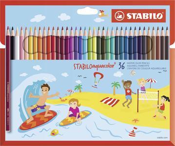 Pastelli STABILO aquacolor. Scatola in cartone 36 matite colorate acquarellabili