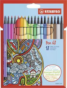 Pennarelli STABILO Pen 68. Scatola in cartone 18 colori