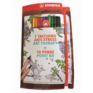 Cofanetto STABILO Art Therapy. Taccuino con astuccio con 10 pennarelli Point 88 colori assortiti
