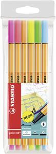 Pennarelli Fineliner Stabilo Point 88 Neon. Confezione 6 colori assortiti