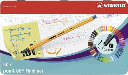 Pennarelli Fineliner STABILO point 88. Scatola in metallo con 50 colori assortiti