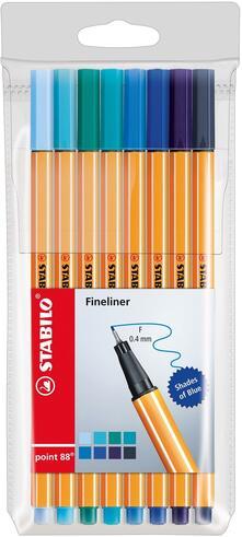 Pennarelli Fineliner STABILO point 88. Astuccio 8 colori sfumature di blu