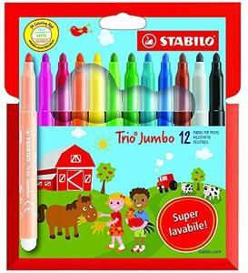 Pennarelli Stabilo Trio Jumbo. Scatola in cartone con 12 colori assortiti