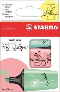 Evidenziatore Stabilo BOSS Mini Pastellove. Confezione 3 colori assortiti