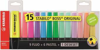 Cartoleria Evidenziatore Stabilo BOSS Original. Set da scrivania con 15 colori assortiti. Set da scrivania Limited Edition Stabilo