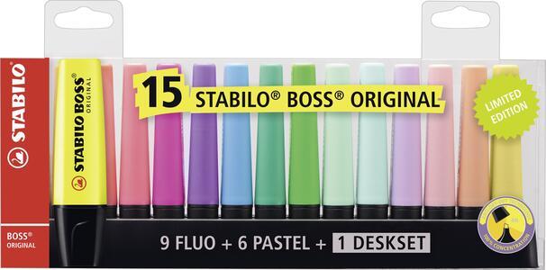 Evidenziatore Stabilo BOSS Original. Set da scrivania con 15 colori assortiti. Set da scrivania Limited Edition