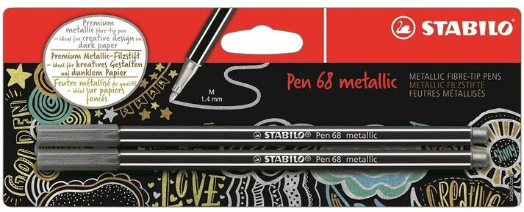 Pennarelli STABILO Pen 68 metallic Argento e Argento. Confezione 2 pezzi