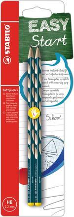 Matita Ergonomica triangolare - STABILO EASYgraph S per Mancini in Petrolio - Pack da 2 - Gradazione HB