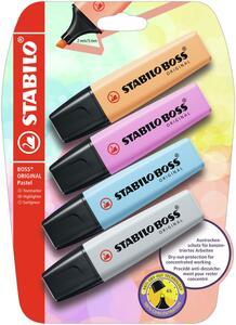 Cartoleria Evidenziatore STABILO BOSS Original. Pastel Pack da 4 Arancione Papaya, Fucsia Freddo, Azzurro Cielo, Grigio Polvere Stabilo