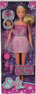 Steffi Love Sparkle & Shine, Con Abito Glitterato, Borsa, Scarpe E Anello Per La Bambina - 4