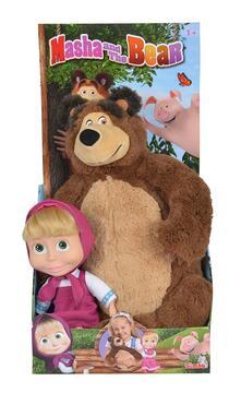 Masha E Orso. Set Bambola Cm.23 Con Orso Peluche Cm.43