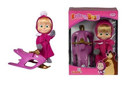 Foto di Masha e Orso. Bambola Masha con Slittino, Giochi e giocattoli 0