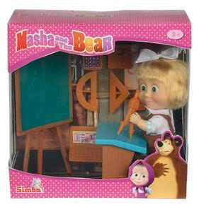 Masha e Orso. Bambola Masha a Scuola con Lavagna, Banco e Accessori - 2