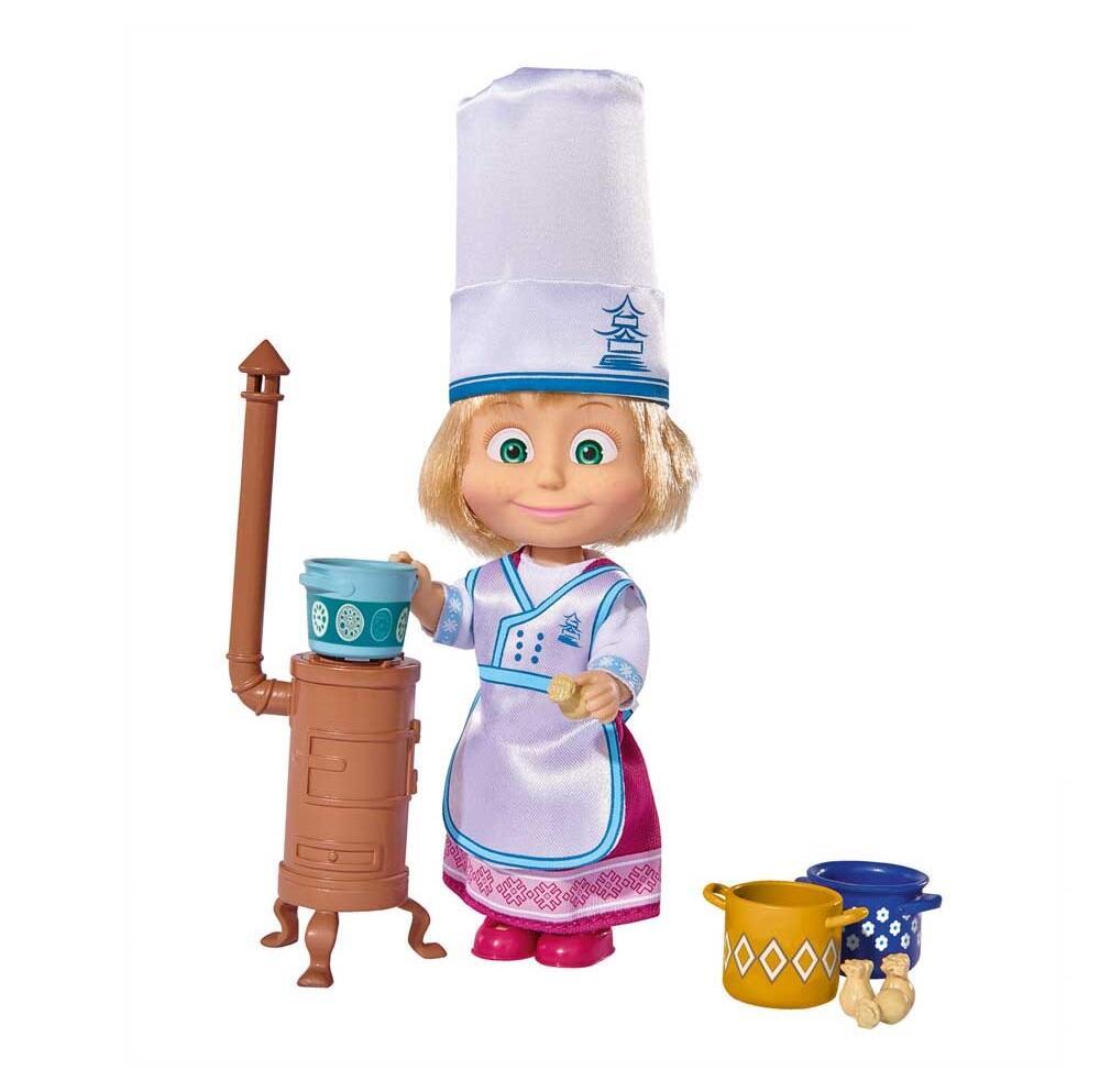 Masha e orso bambola masha 12 cm cuoca simba toys for Masha giocattolo