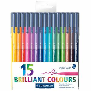 Pennarelli Staedtler Brilliant Colours Triplus Color. Confezione Clear Box 15 colori assortiti