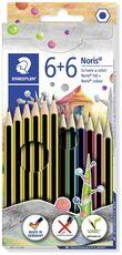 Cartoleria Set Staedtler Noris. Con 6 matite in grafite e 6 pastelli Staedtler