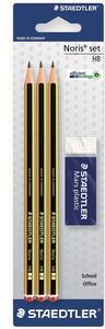 Matita in grafite Staedtler Noris HB. Confezione 3 matite + gomma Mars plastic