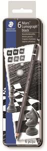 Matita Staedtler Mars Lumograph black. Astuccio in metallo 6 matite in grafite tipo carboncino