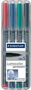 Penna a punta sintetica Staedtler Lumocolor Permanent punta superfine 0,4 mm. Confezione 4 colori assortiti